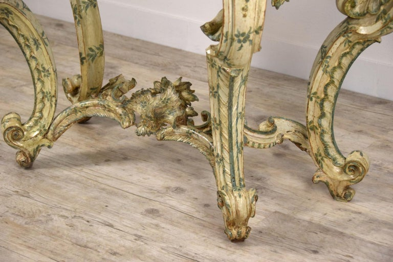 18th Century, Carved and Laquered Wood Italian Baroque Console For Sale 13