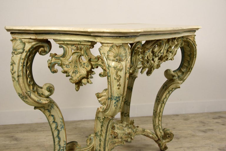 18th Century, Carved and Laquered Wood Italian Baroque Console For Sale 14