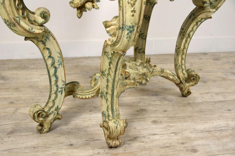 18th Century, Carved and Laquered Wood Italian Baroque Console For Sale 15