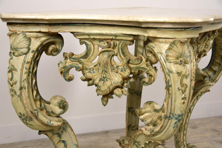 18th Century, Carved and Laquered Wood Italian Baroque Console For Sale 16