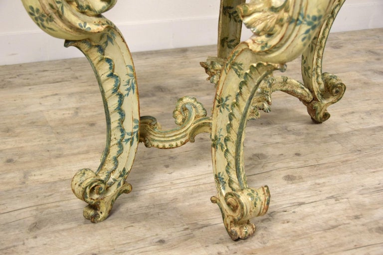 18th Century, Carved and Laquered Wood Italian Baroque Console For Sale 17