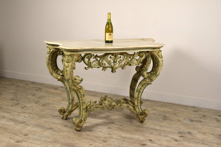 18th Century, Carved and Laquered Wood Italian Baroque Console For Sale 2