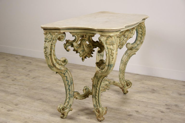 18th Century, Carved and Laquered Wood Italian Baroque Console For Sale 3