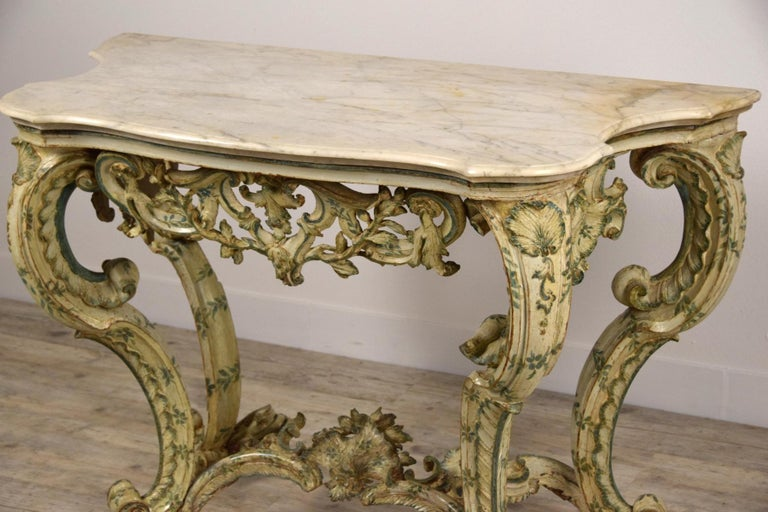 18th Century, Carved and Laquered Wood Italian Baroque Console For Sale 6