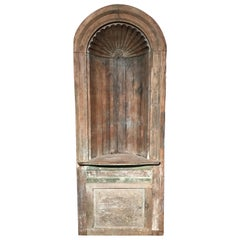 18th Century Carved Architectural Corner Cupboard with Shell Decoration