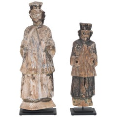 18th Century Carved Central European Figures, a Pair