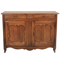 18th Century Carved Country French Provincial Louis XV Period Walnut Buffet