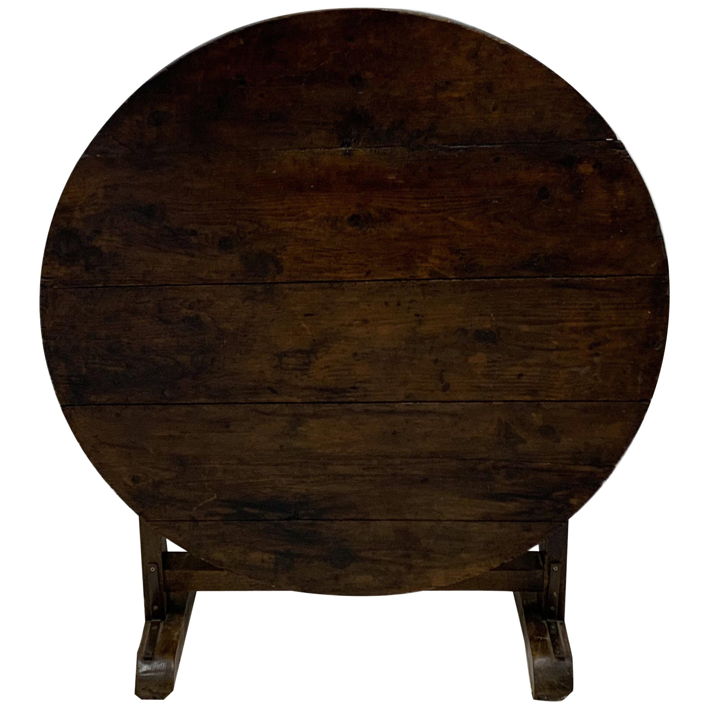 18th Century Carved French Oak Tilt-Top Wine Tasting Table