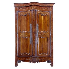 18th Century Carved French Yew Wood and Chestnut Armoire