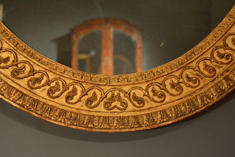18th Century Carved Giltwood and Composition Oval Mirror of Adam Design 2