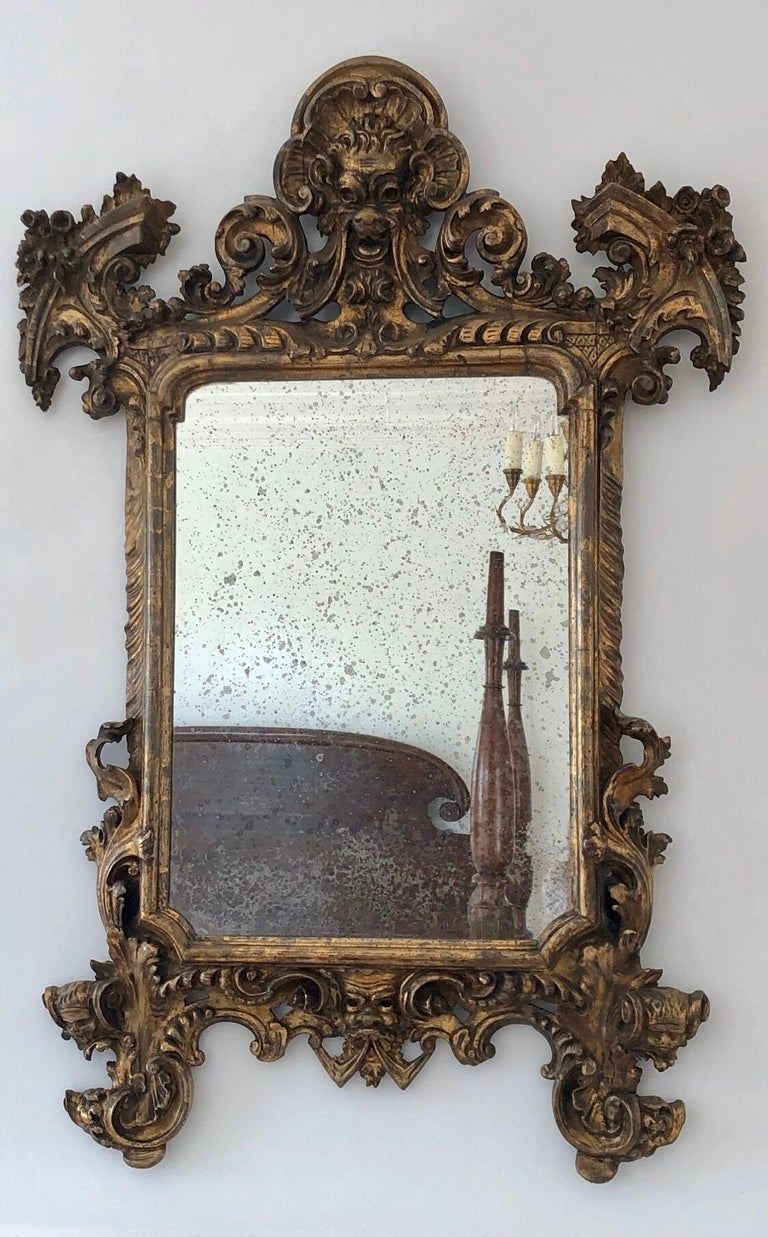 18th Century Carved Giltwood Baroque Italian Mirror For Sale 7
