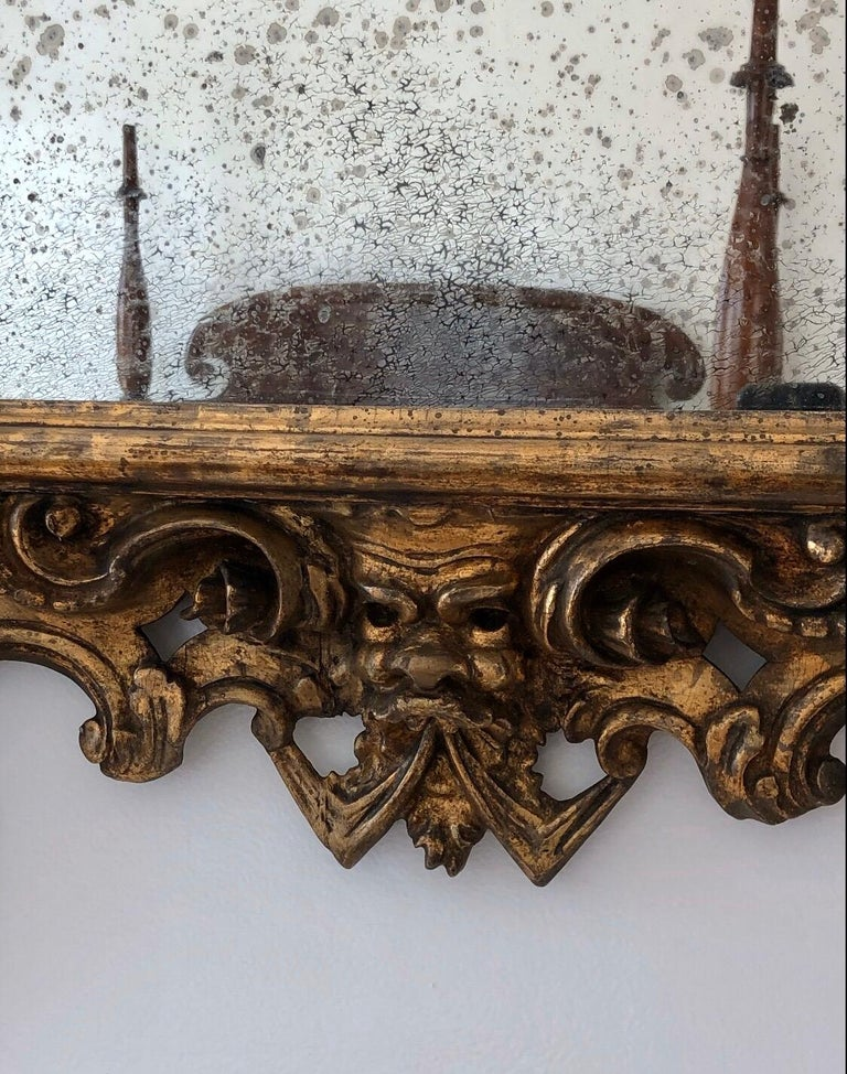 18th Century Carved Giltwood Baroque Italian Mirror For Sale 1