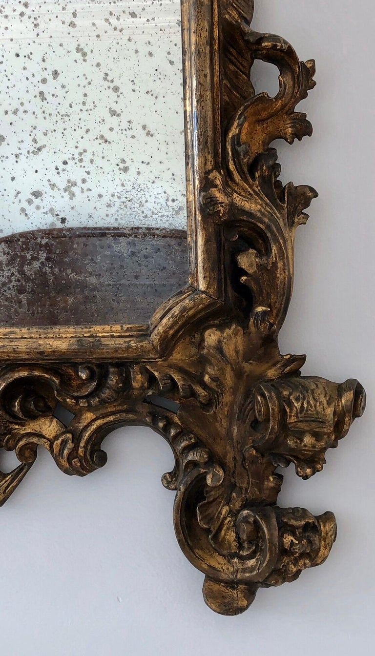 18th Century Carved Giltwood Baroque Italian Mirror For Sale 3