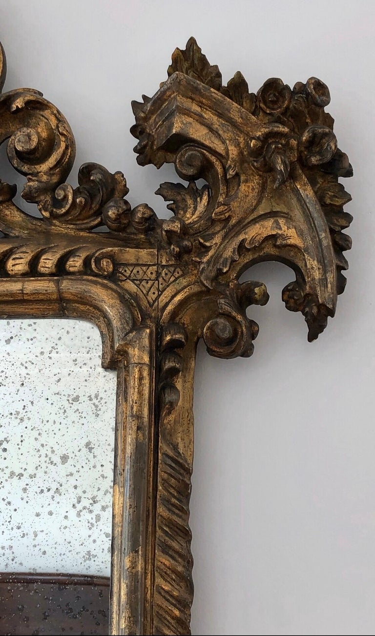 18th Century Carved Giltwood Baroque Italian Mirror For Sale 4