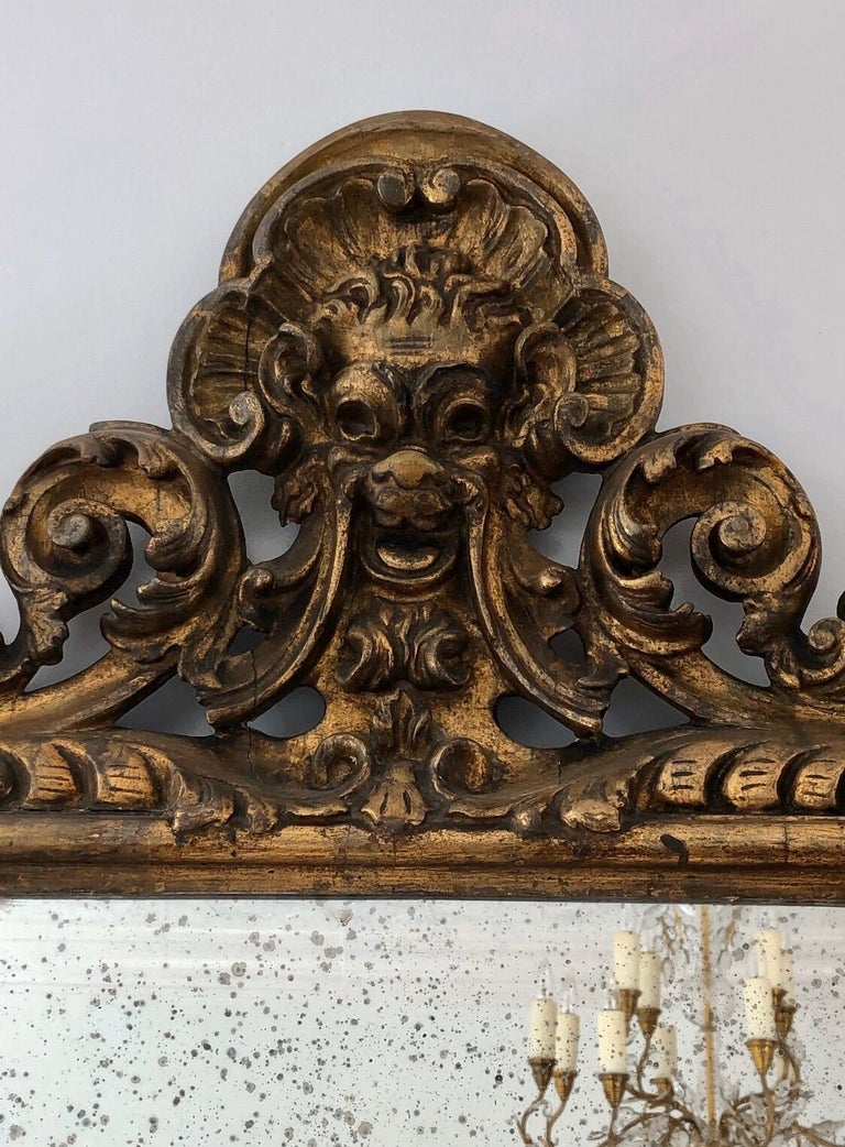 18th Century Carved Giltwood Baroque Italian Mirror For Sale 5