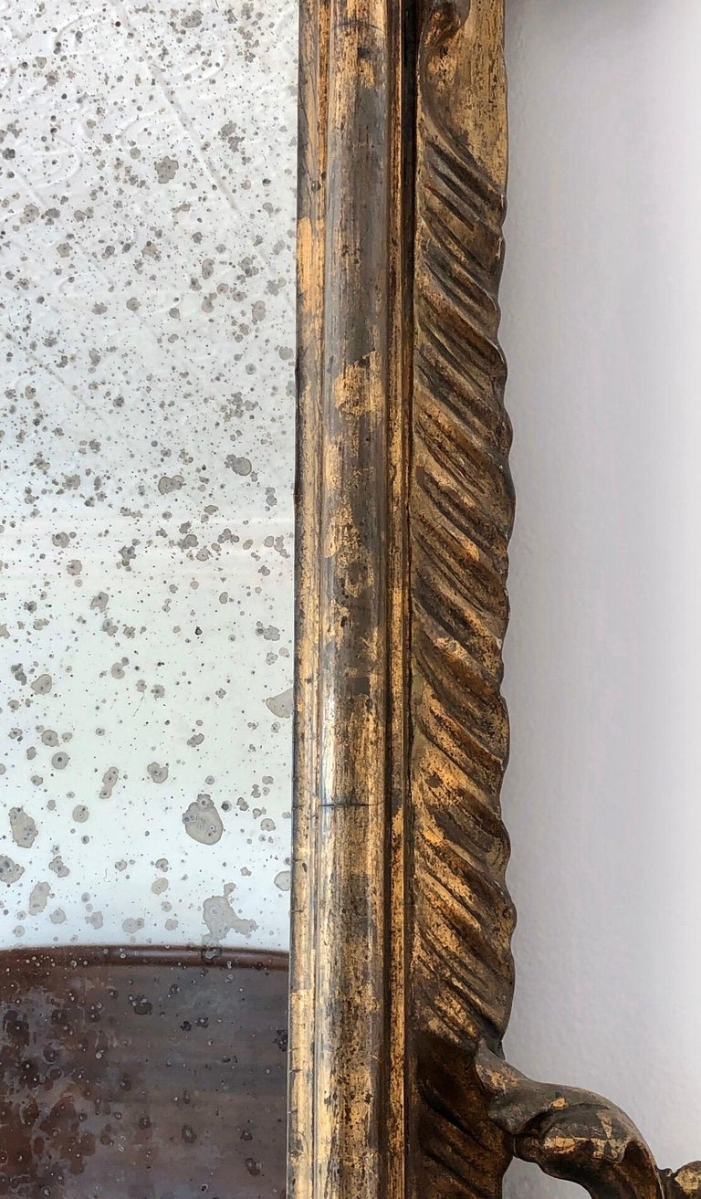 18th Century Carved Giltwood Baroque Italian Mirror For Sale 6