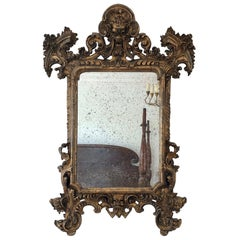 18th Century Carved Giltwood Baroque Italian Mirror
