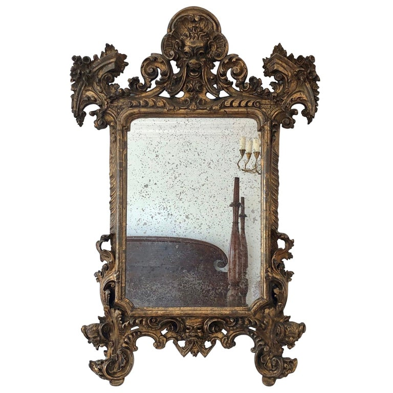 18th Century Carved Giltwood Baroque Italian Mirror For Sale