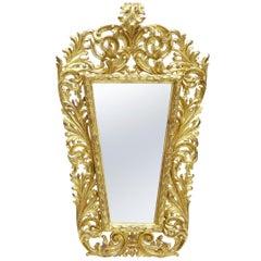 18th Century Carved Italian Rococo Giltwood Mirror