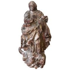 18th Century Carved Large Santos Madonna