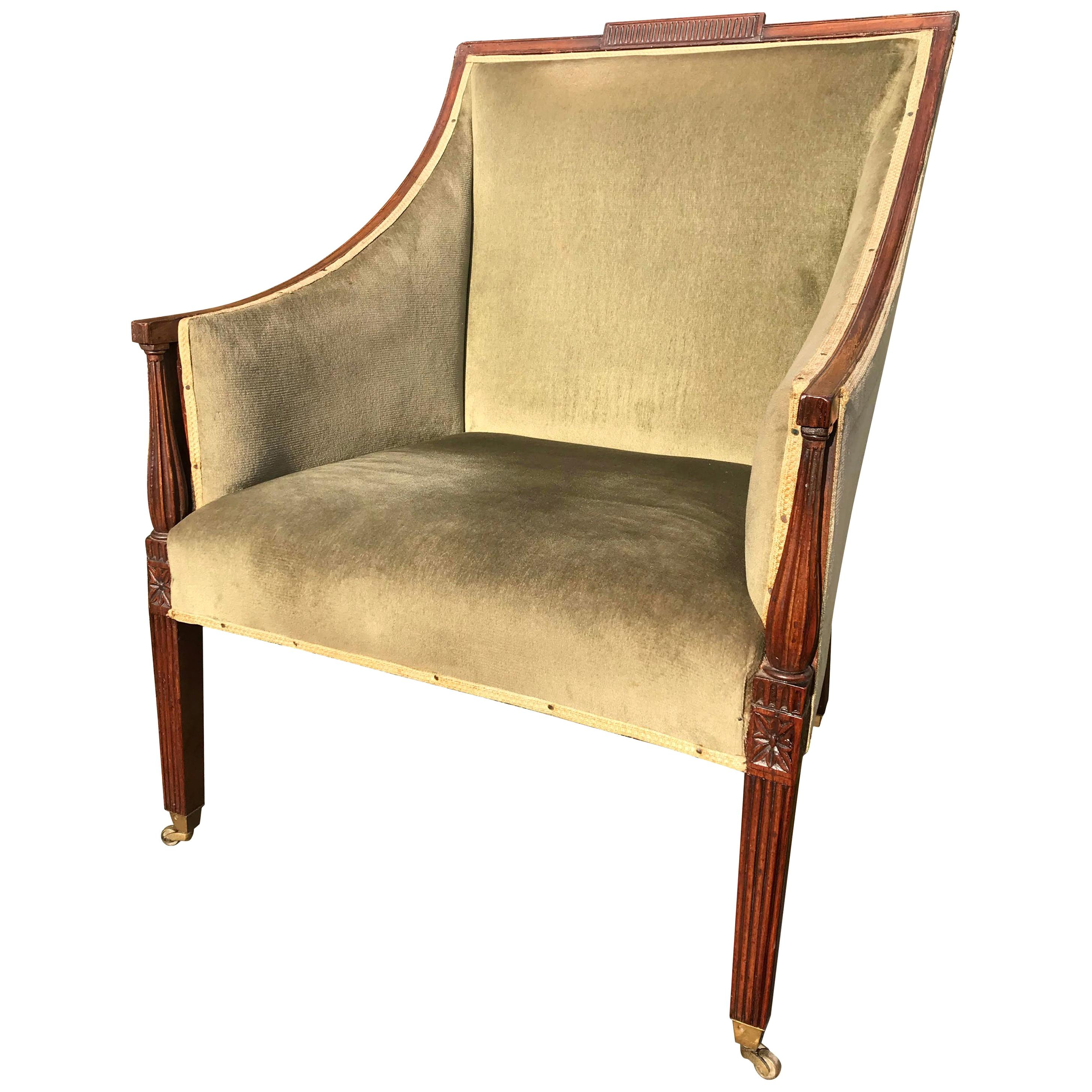 18th Century Carved Mahogany Library Bergère Armchair