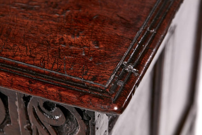 18th Century Carved Oak Coffer For Sale 6