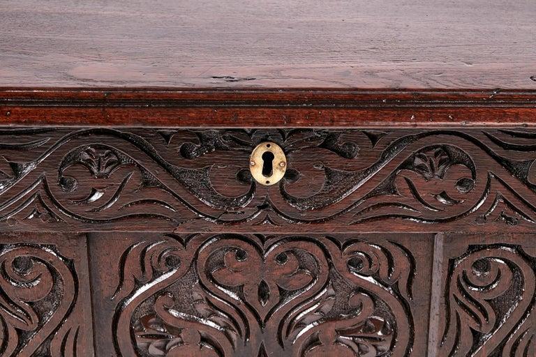 Georgian 18th Century Carved Oak Coffer For Sale