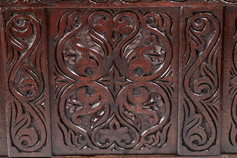 English 18th Century Carved Oak Coffer For Sale