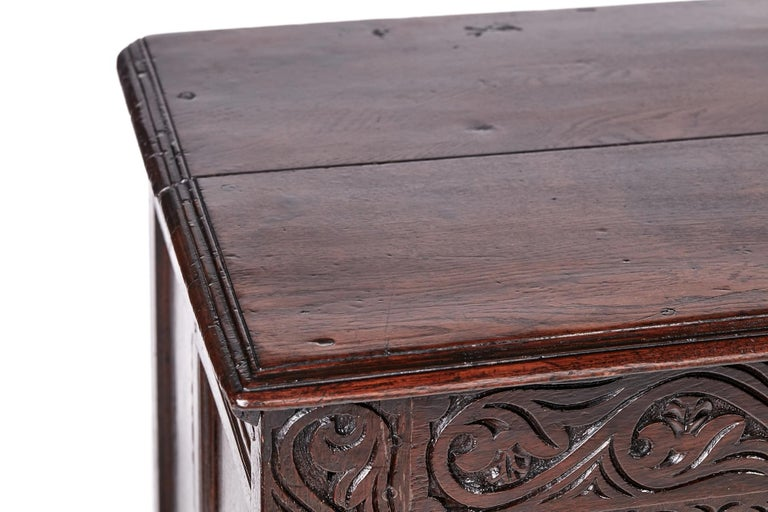 18th Century Carved Oak Coffer In Excellent Condition For Sale In Norwich, GB