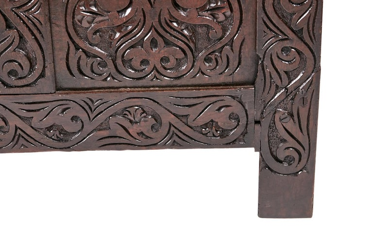 18th Century Carved Oak Coffer For Sale 2