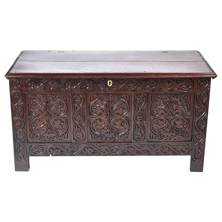 18th Century Carved Oak Coffer For Sale