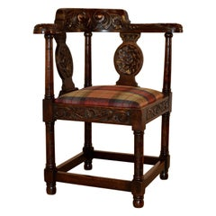18th Century Carved Oak Corner Chair