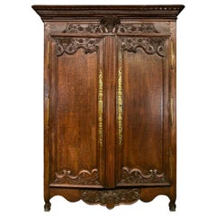 18th Century Carved Oak French Armoire