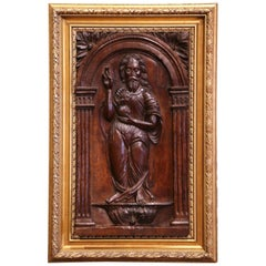 18th Century Carved Oak Panel of Jesus Christ Blessing in Giltwood Frame