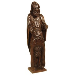 18th Century Carved Oak Statue Depicting St. Bartholomew