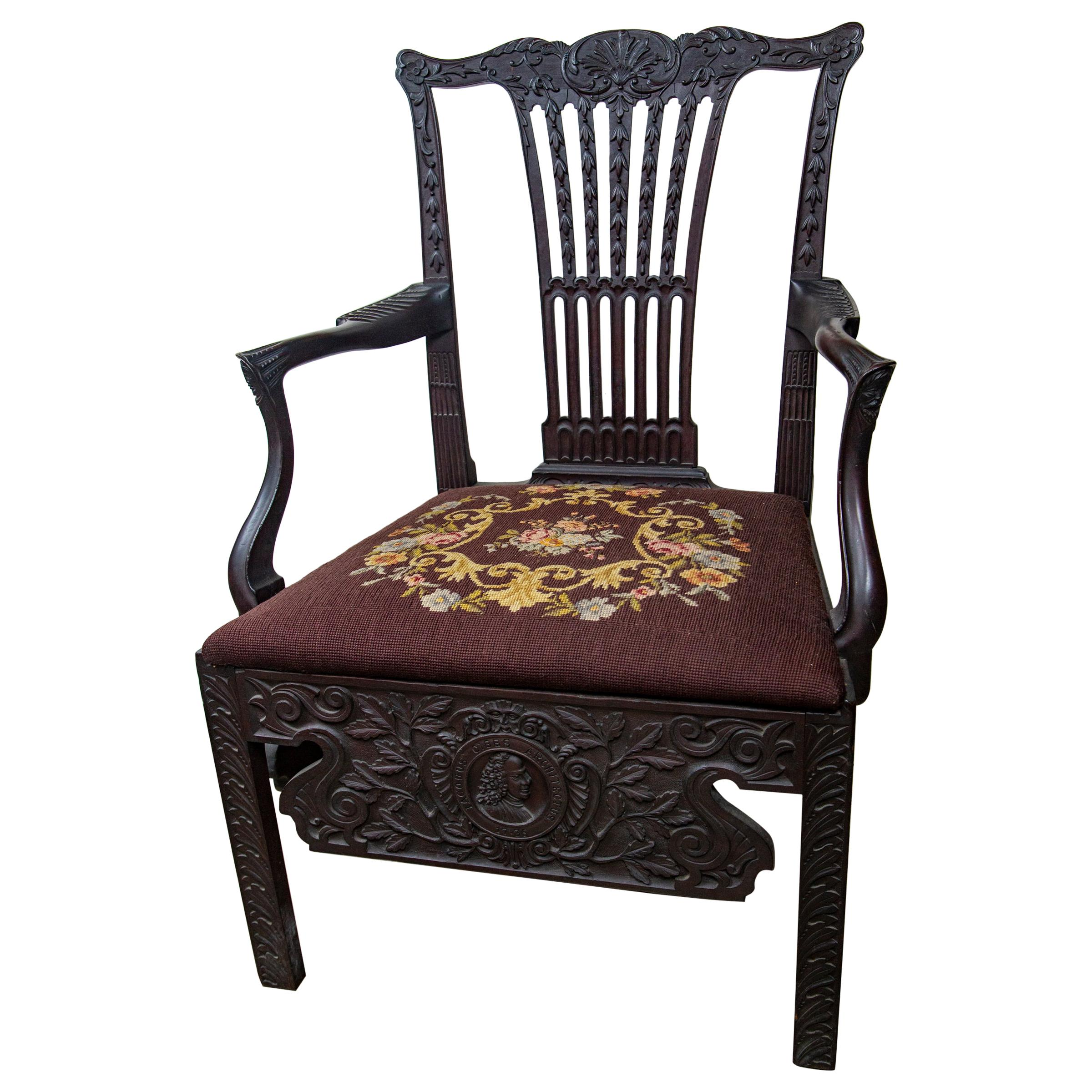 18th Century Carved Open Armchair