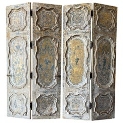18th Century Carved Panel Gold Gilt and Blue Venetian Doors