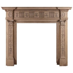 18th Century Carved Pine Fireplace in the Adam Style