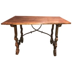 18th Century Carved Walnut Spanish Trestle Table