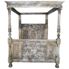 18th Century Carved Wood Four Poster Canopy Bed Frame