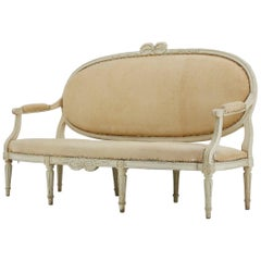 18th Century Carved Wood Painted French Sofa