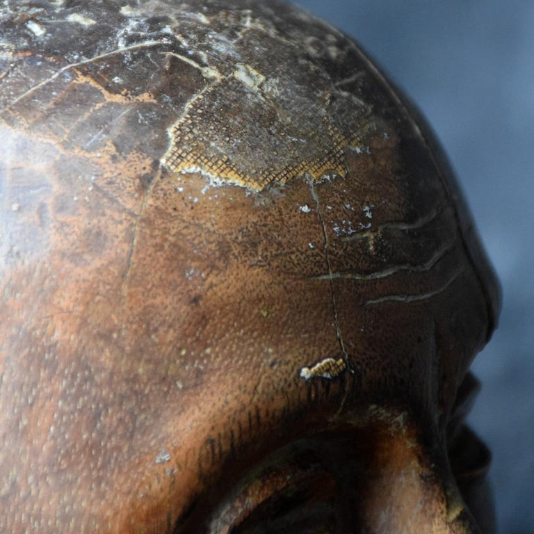 18th Century Carved Wood Santos Head For Sale 2