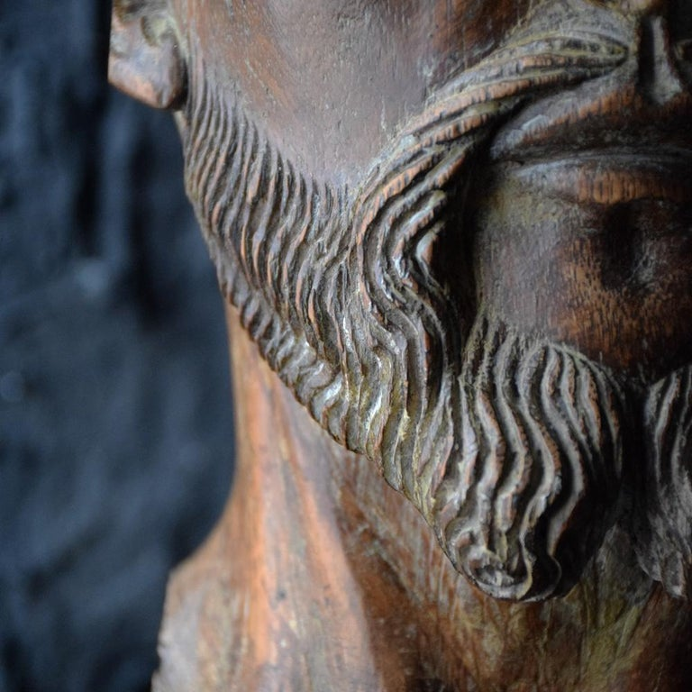 18th Century Carved Wood Santos Head For Sale 4