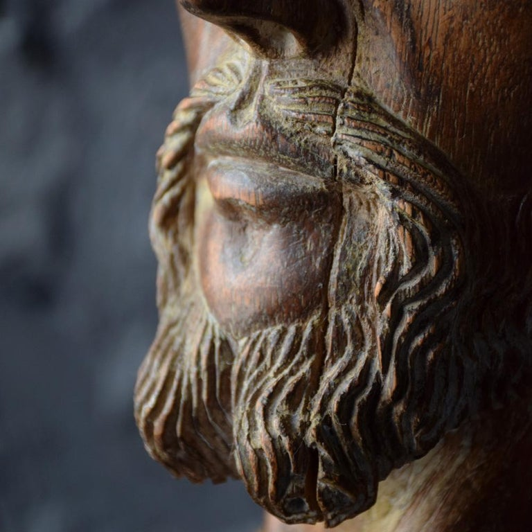 18th Century Carved Wood Santos Head For Sale 5