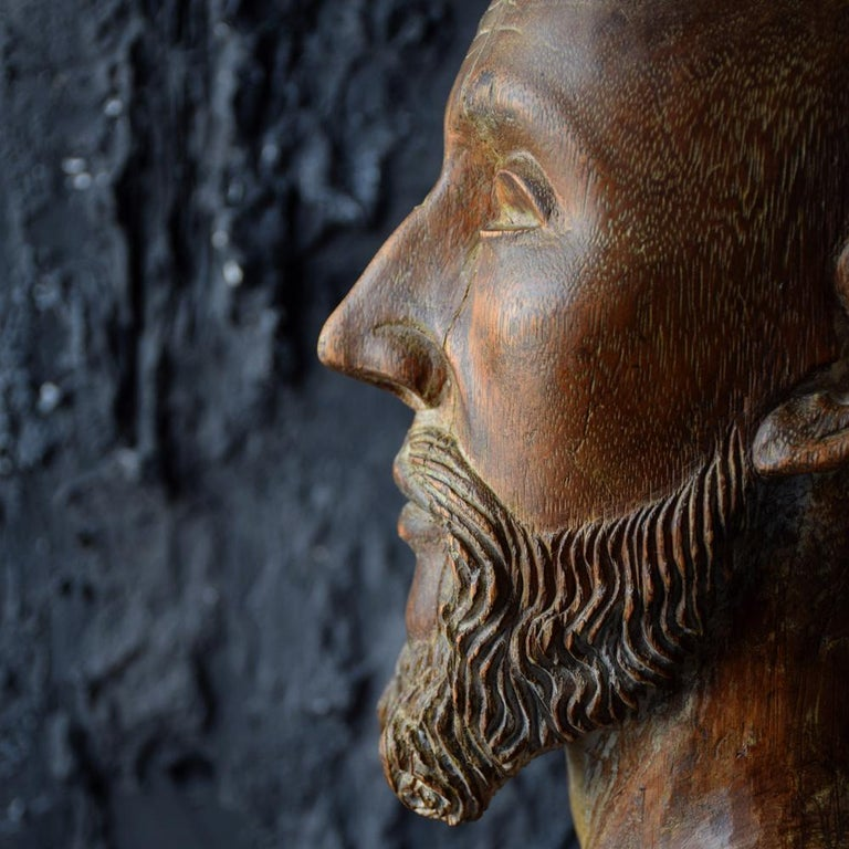 18th Century Carved Wood Santos Head For Sale 6