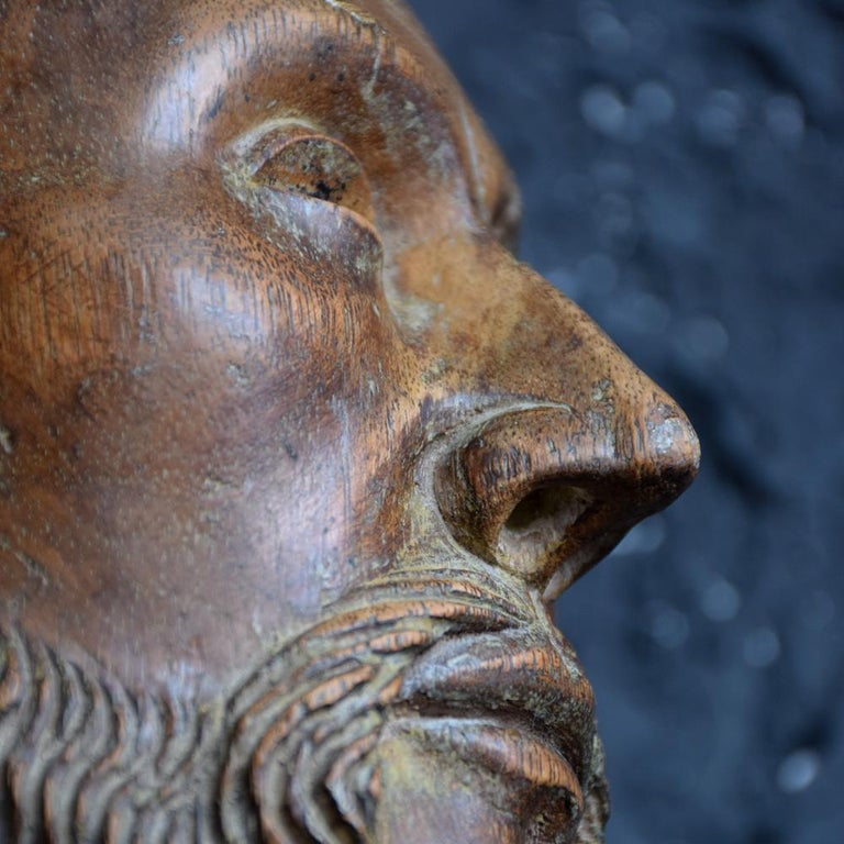 18th Century Carved Wood Santos Head For Sale 8