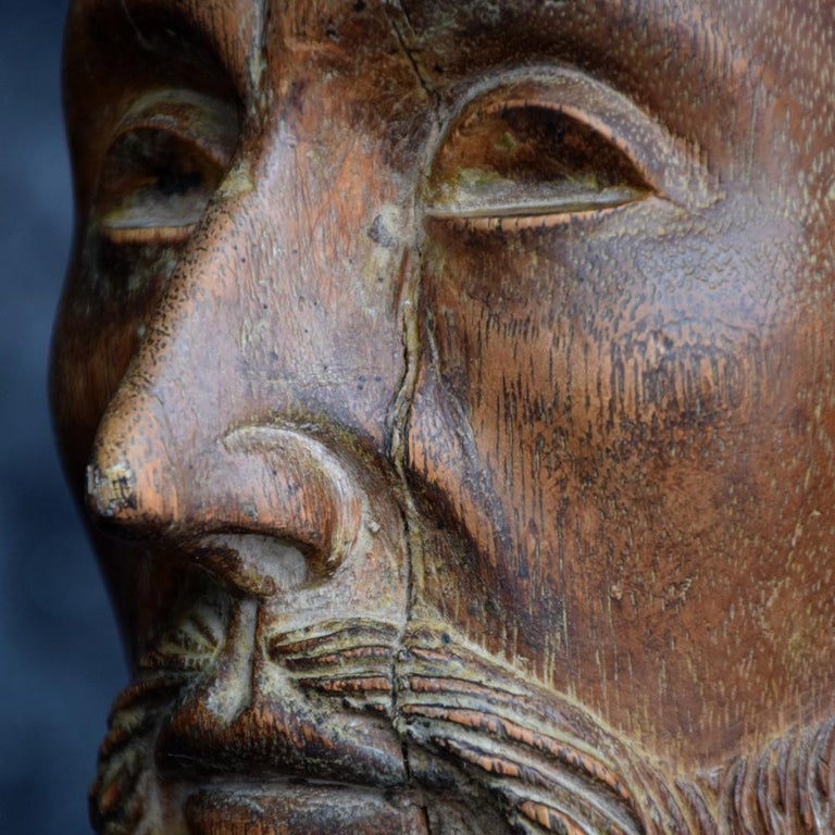 18th Century Carved Wood Santos Head For Sale 11