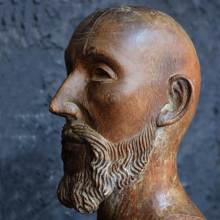 18th Century Carved Wood Santos Head For Sale 1