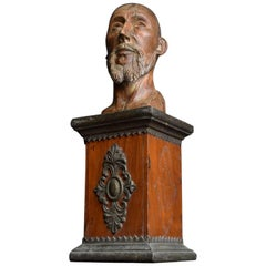18th Century Carved Wood Santos Head