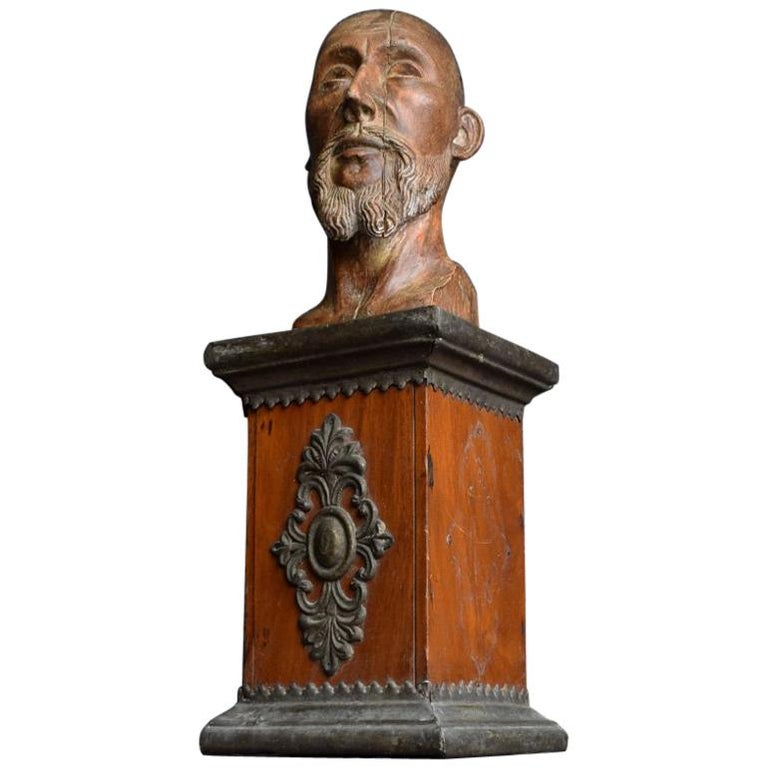 18th Century Carved Wood Santos Head For Sale